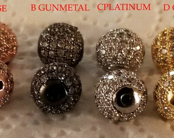 2 Round Brass Micro Pave Cubic Zirconia Beads, 2 Rose Gold, 2 Platinum, 2 Gunmetal Color pave beads, Size, 10 mm in diameter, hole 2 mm