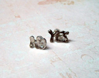 "Earrings ""Yes No"" silver"