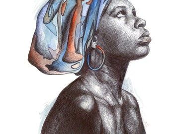 African woman A4 print