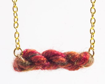 Mini Skein of Yarn Necklace - Autumn Sparkle Wool - Knitters, Crocheters, Spinners Gifts