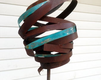Sculptural Steel & Copper Bird Feeder No. 366 - Freestanding unique modern bird feeder