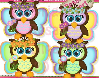 Cute Fairy Owls Clipart (Digital Download)