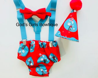Dr Seuss Cat in the Hat 1st Birthday Twins Smash Cake Party Outfit Photo Prop Bow Tie Hat Baby Toddler Boys Bottoms