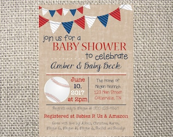 PRINTED or DIGITAL | Baseball | Baby Shower Invitation | Red White Blue | American | Bunting | Custom Invitations .82 each