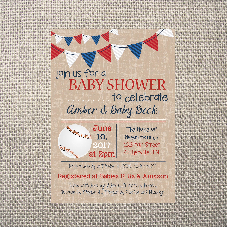 PRINTED or DIGITAL | Baseball | Baby Shower Invitation | Red White ...