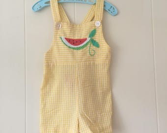 1960's yellow & white gingham shortalls romper with watermelon - size 3t