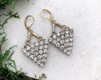 Repurposed vintage rhinestone triangle earrings