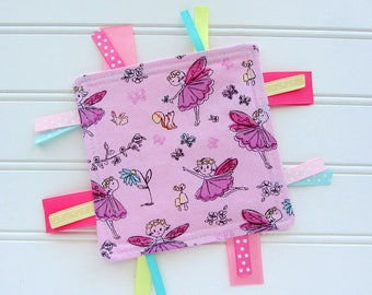 Pink Fairies Girl Crinkle Toy, Ribbon Toy, Baby Girl Crinkle Toy, Sensory Tag Toy, Babies First Toy, Baby Girl Gift