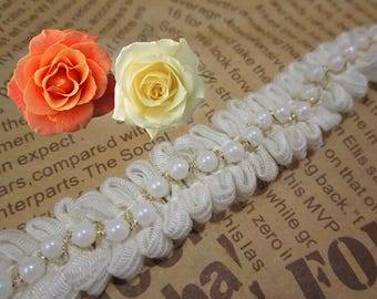 white pearl  Beading Lace Trim  for Bags Collars Pockets Headwears  - 90cm (2cm Width) YSFL07