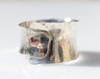 Hammered Silver with Copper Rivet Ring Cuff