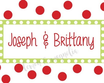 Red Polka Dots with Lime Personalized Holiday Gift Tag