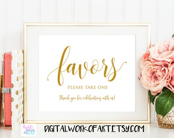 Gold Wedding Favors Sign Printable, Please take one Wedding Decor Sign, Favor Table Card Reception Sign, instant download, 8x10 PDF,  #SG