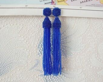 Beaded Tassel Clip-On Earrings Navy