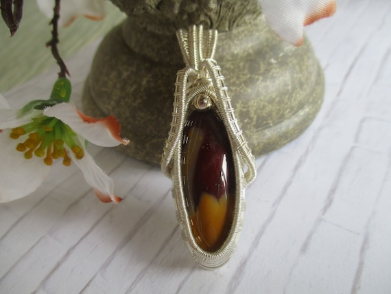 Mookaite Wire Wrapped Pendant Necklace N65181
