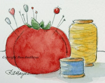 Red Pincushion Sewing Notions Original Painting Watercolor Vintage ACEO Gift