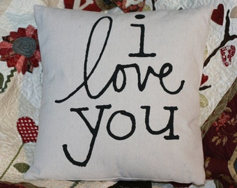 Valentine Pillow, I Love You Pillow, Decorative Pillow, Wedding Pillow, Engagement Pillow, Nursery Pillow, Fiance Pillow, Anniversary Pillow