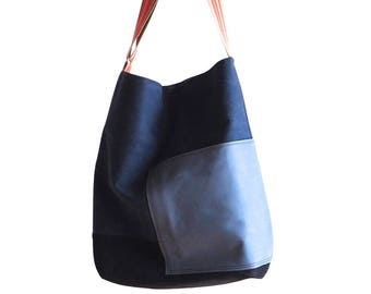 "Canvas Bag *Züri"" nature with leather straps, Tote Bag, Beach Bag, Market Bag, simple, Women, Casual Bag"