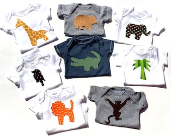 Jungle Theme Animals, Gender Neutral,Boy, Girl,Fabric Iron On Applique Set,Baby Shower,Baby Shower Ironing Activity,NEW SET DESIGN