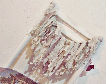 Shabby Garland - Lace Fabric Banner - French Country Decor - Pure Silk - Boho Nursery Decor - Rustic Farmhouse Decor - Gypsy Bedroom