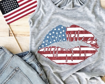 american flag lips tank, american flag lips shirt, American, Patriotic, Graphic Tee, July 4th,Fourth,Star Spangled Hammered, USA,Red White
