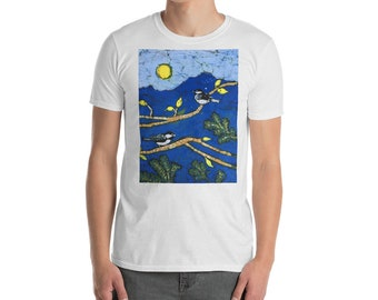 Short-Sleeve Mens T-Shirt With Two Chickadee Birds On Tree Branches Batik Print