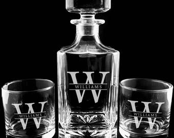 Custom Whiskey Decanter Set, Engraved Monogrammed Decanter, Father's Day, Wedding Gift, Etched Decanter, Boyfriend Gift, Christmas, Birthday