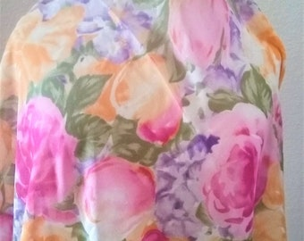 Vintage Elaine Gold / Floral Scarf /  Polyester Wrap / Square / Semi Sheer Scarf / Pink Yellow Flowers