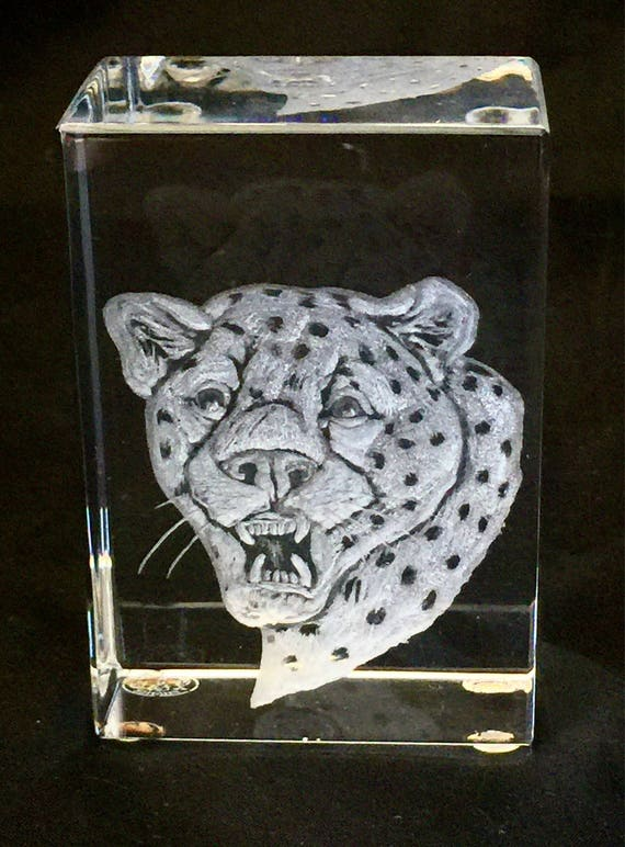 Hand Engraved Paperweight Cheetah, Baccarat Cheetah engraving, collectible, paperweight, cats, engraved, Baccarat Etched
