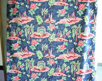 """1940'S  90"""" long by 44"""" wide, unlined panel of heavy cotton drapery"""