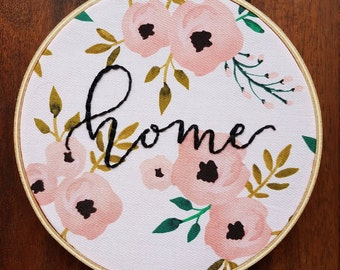 Floral Home Embroidery Hoop Art