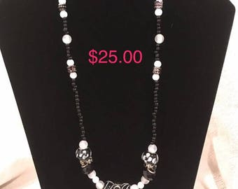 Black and White Beads and Black and White Spacer Beads with Silver Spacer Beads Beaded Necklace