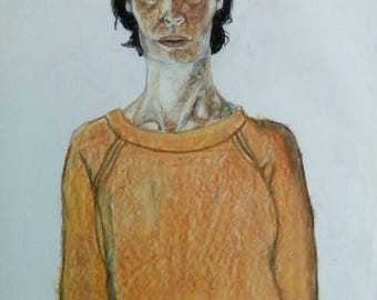 Oil pastel portrait, anonymous woman, Mitte, East Berlin, oil pastel, graphite pencil, ball point pen, 200 gram paper.