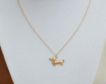 Gold Wiener Dog Necklace