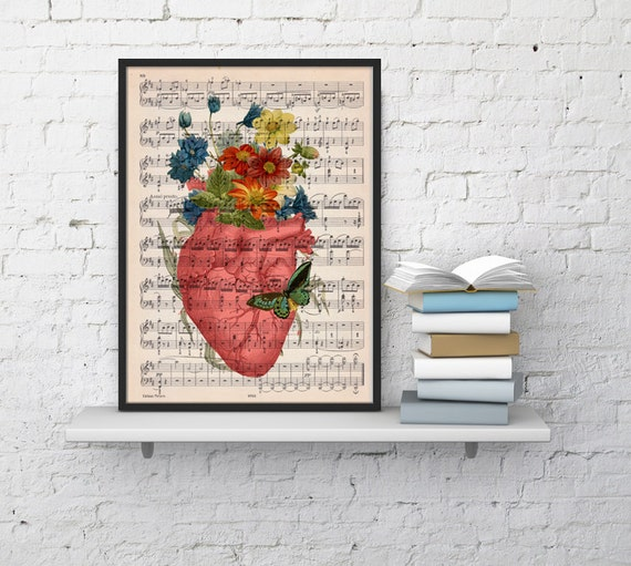 Pink human heart with flowers over music sheet- Spring time heart print over music sheet SKA088MSL
