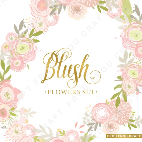 Blush pink spring flowers clipart intant download digital high like this item mightylinksfo