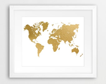 World Map Print, Gold World Map Art, World Map Gold Foil Texture, Modern Wall Art, Home Office Decor, Printable Art, Instant Download