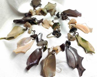Abalone Shell Broken Jewelry Necklace 11 inches to Repair Restring Jewelry Crafting - Great for Earrings, Pendants, Seashore Theme Ornaments