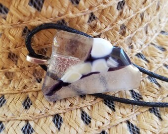 Black and white fused glass pendant necklace .