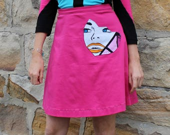 Hot Pink A- Line Mini Skirt, Custom Women's Fashion, Patch Pocket, Short Skirt, Cotton Sateen, Handmade in Australia