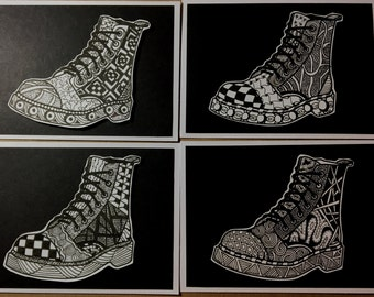 Zentangled Combat Boots! One of a kind, Blank greeting cards for the soldier in your life!