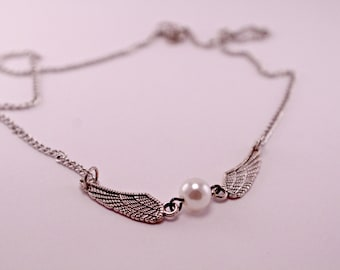 Steampunk Industrial Snitch Necklace Angel Wings and Pearl on 16 Inch Chain