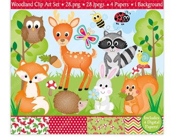 Woodland Animals Clipart,Woodland Digital Papers,Woodland Animals,Animals Clipart,Clipart,Forest Animals Clipart,Fox,Commercial Use (C27)