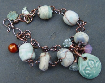 Spirited Earth - Earthenware and Copper Bracelet