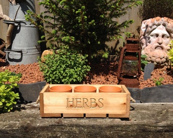 Trough - Handmade Reclaimed Wood 'Herb' Trough complete with 3 Terracotta Pots