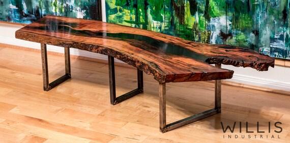 Live Edge Mesquite Slab Table W Black Epoxy Filling