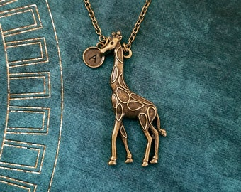 Giraffe Necklace LARGE Giraffe Charm Necklace Bronze Giraffe Pendant Necklace Animal Jewelry Brass Necklace Personalized Jewelry Initial