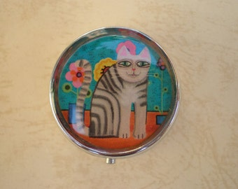 Pill box, Pill case, Pill container, Jewelry box, Mint case, Pills, Cat, Cat pill box