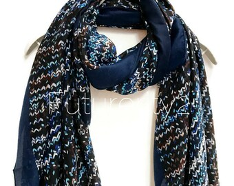 Knitting Patterns Dark Blue Trim Scarf /Spring Summer Scarf /Autumn Scarf /Gifts For Her /Gifts For Mother /Handmade Accessories /Christmas