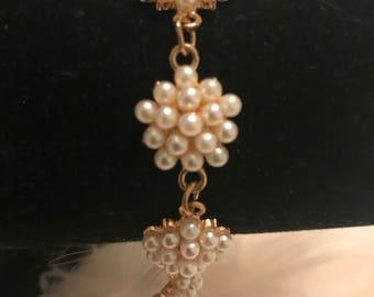 Faux pearl cluster bracelet
