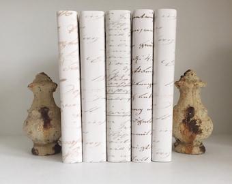 Vintage Script Books, Antique Script Decorative Books, White Books, Cream Books, Shabby Chic Decor Books, Filler Books, Book by the Foot